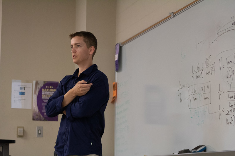 Matthew Kirk, a Kansas State University professor, hosted a lecture Thursday over how anaerobic microorganisms can be useful in solving environmental issues in many ways. (Katelin Woods | Collegian Media Group)