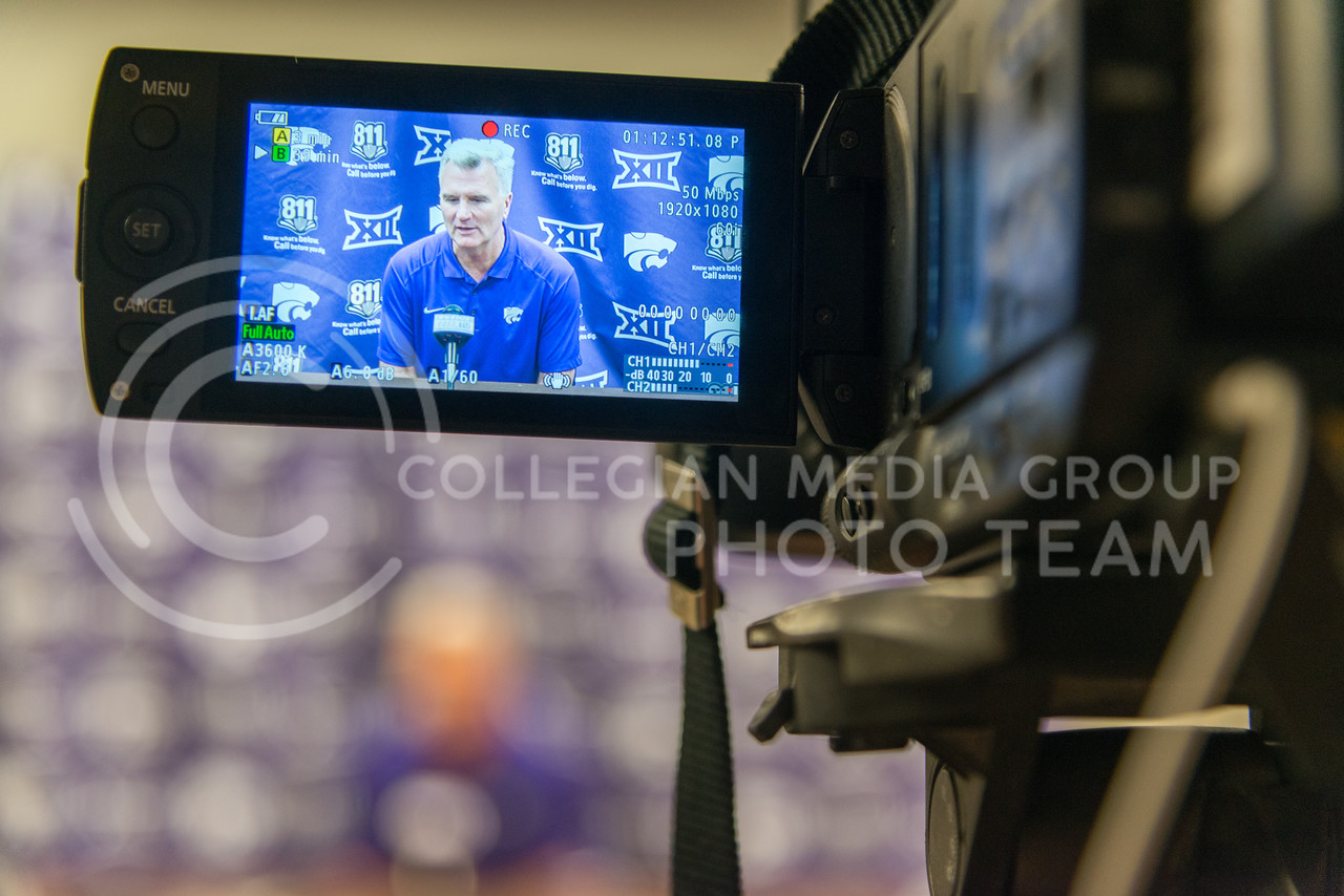 Coach Bruce Weber talks to members of the press during a practice at the basketball center on June 28, 2016. (Evert Nelson | The Colleigan)