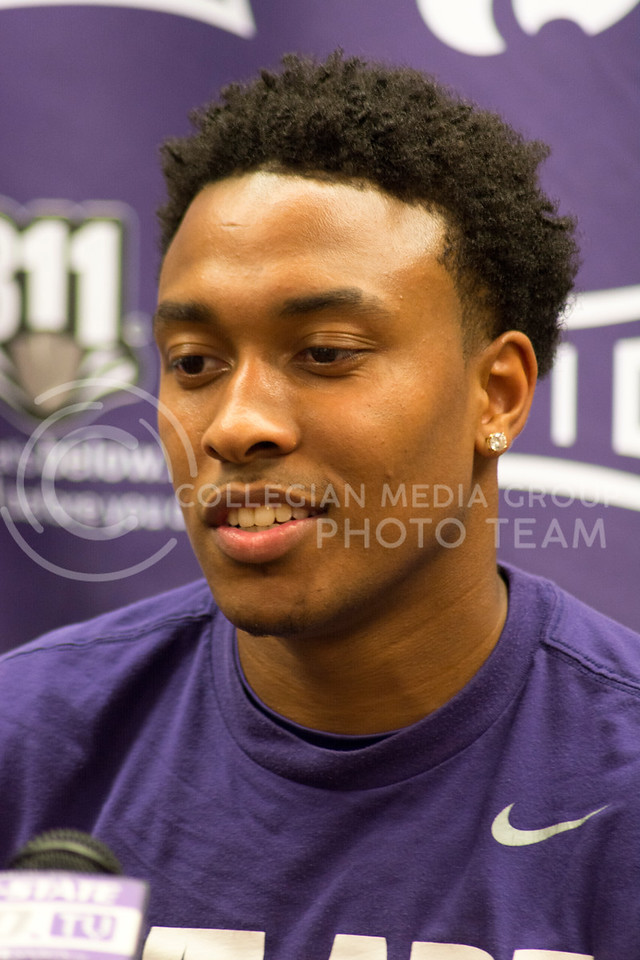 Kamau Stokes, sophomore guard, talks to members of the press at the men's basketball press meeting on June 28th, 2016. (Sarah Falcon | The Collegian)