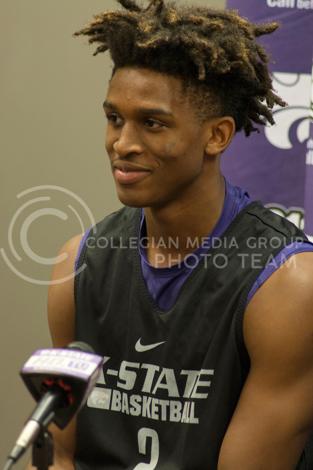 Cartier Diarra, freshman guard, talks to reporters at a men's basketball briefing during the Wildcats third team practice on June 28, 2016. (Sarah Falcon | The Collegian)