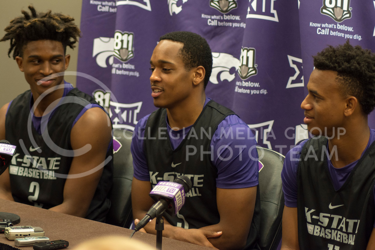 Cartier Diarra, Barry Brown, and Brian Patrick at the men's basketball press conference on June 28th, 2016. (Sarah Falcon | The Collegian)