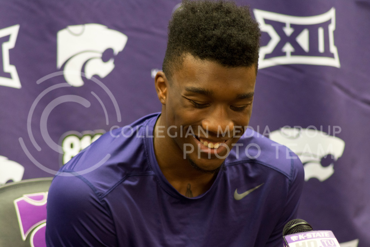 Xavier Sneed at the men's basketball press conference on June 28th, 2016. (Sarah Falcon | The Collegian)