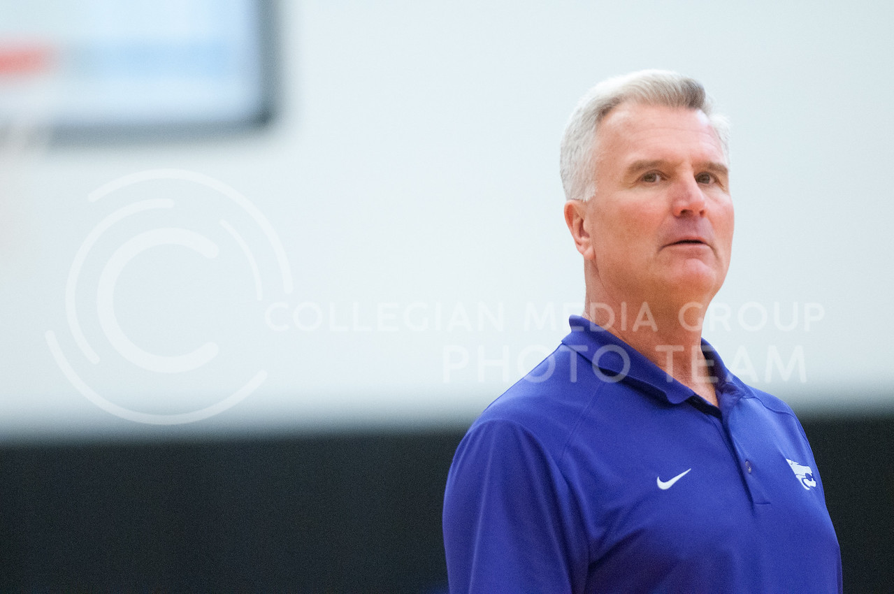 Coach Bruce Weber looks toward his players during a team practice on June 28, 2016. The Wildcats held their third team practice before taking a trip to Europe for various offseason games. (Evert Nelson | The Collegian)