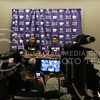 Carlbe Ervin II, senior (left), sits with Kamau Stokes, sophomore (right), during a press conference on June 28, 2016 during the Wildcats third team practice. (Evert Nelson | The Collegian)