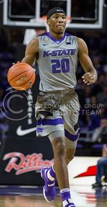 Freshman forward Xavier Sneed runs down the court during the K-State game against Baylor in Bramlage Coliseum on Jan. 14, 2017. (Nathan Jones | The Collegian)