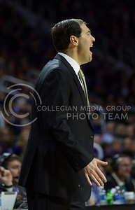 Baylor head coach Scott Drew yells instructions at the players during the K-State game against Baylor in Bramlage Coliseum on Jan. 14, 2017. (Nathan Jones | The Collegian)