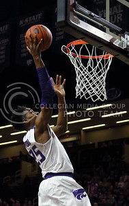 Senior forward Wesley Iwundu takes a shot during the K-State basketball game against the University of Nebraska-Omaha in Bramlage Coliseum on Nov. 15, 2016. (Miranda Snyder | The Collegian)