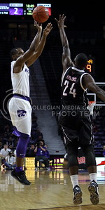 Sophomore guard Barry Brown takes a shot during the K-State basketball game against the University of Nebraska-Omaha in Bramlage Coliseum on Nov. 15, 2016. (Miranda Snyder | The Collegian)