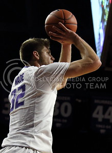 Sophomore forward Dean Wade takes a shot during the K-State basketball game against the University of Nebraska-Omaha in Bramlage Coliseum on Nov. 15, 2016. (Miranda Snyder | The Collegian)