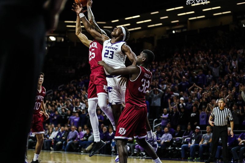 Austin Trice tries to take the ball during K-State's basketball game against Denver in Bramlage Coliseum on Nov. 12, 2018. The Wildcats defeated the Pioneers 64-56. (Emily Lenk | Collegian Media Group)