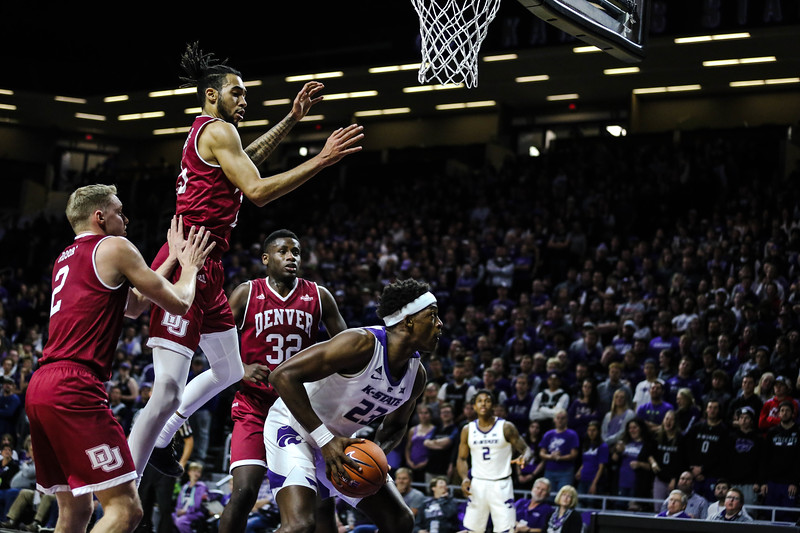 Austin Trice dunks the ball during K-State's basketball game against Denver in Bramlage Coliseum on Nov. 12, 2018. The Wildcats defeated the Pioneers 64-56. (Emily Lenk | Collegian Media Group)