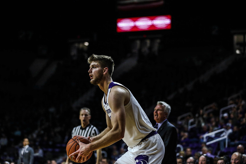 Senior forward Dean Wade perepares to shoot a free throw during K-State's basketball game against Denver in Bramlage Coliseum on Nov. 12, 2018. The Wildcats defeated the Pioneers 64-56. (Emily Lenk | Collegian Media Group)