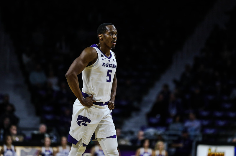 Senior guard Barry Brown Jr. takes a break during K-State's basketball game against Denver in Bramlage Coliseum on Nov. 12, 2018. The Wildcats defeated the Pioneers 64-56. (Emily Lenk | Collegian Media Group)