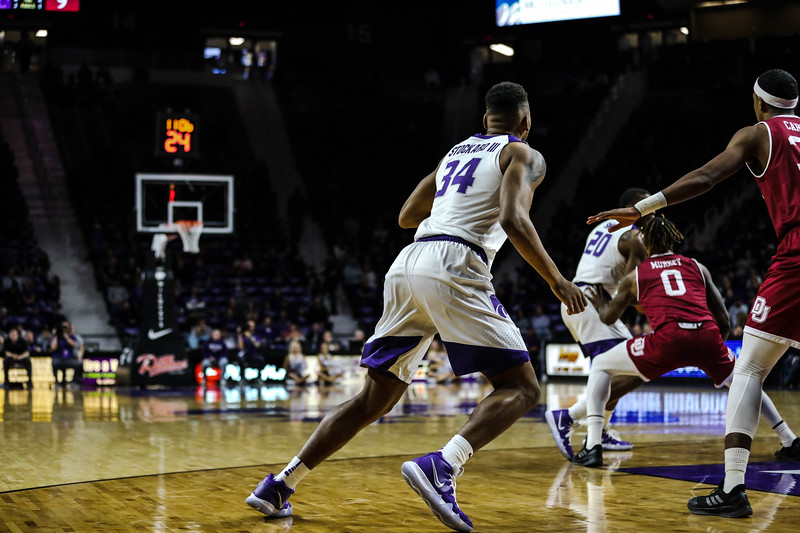 Levi Stockard III follows the ball during K-State's basketball game against Denver in Bramlage Coliseum on Nov. 12, 2018. The Wildcats defeated the Pioneers 64-56. (Emily Lenk | Collegian Media Group)