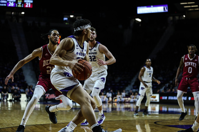 Mike McGuirl holds the ball during K-State's basketball game against Denver in Bramlage Coliseum on Nov. 12, 2018. The Wildcats defeated the Pioneers 64-56. (Emily Lenk | Collegian Media Group)