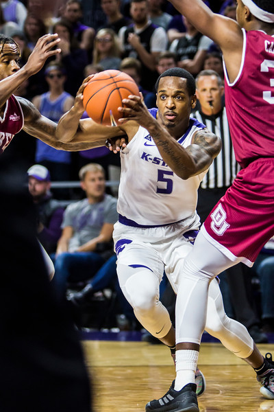 Senior guard Barry Brown Jr. charges the basket during K-State's basketball game against Denver in Bramlage Coliseum on Nov. 12, 2018. The Wildcats defeated the Pioneers 64-56. (Logan Wassall | Collegian Media Group)