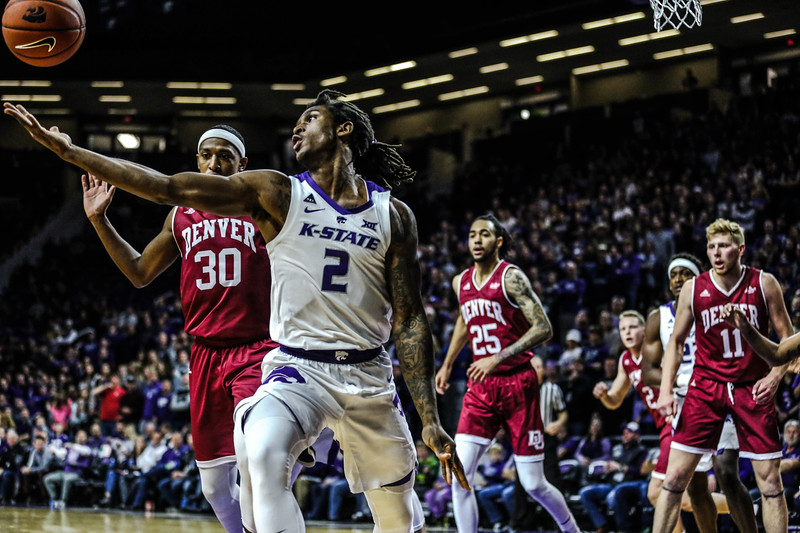 Cariter Diarra takes the ball during K-State's basketball game against Denver in Bramlage Coliseum on Nov. 12, 2018. The Wildcats defeated the Pioneers 64-56. (Emily Lenk | Collegian Media Group)