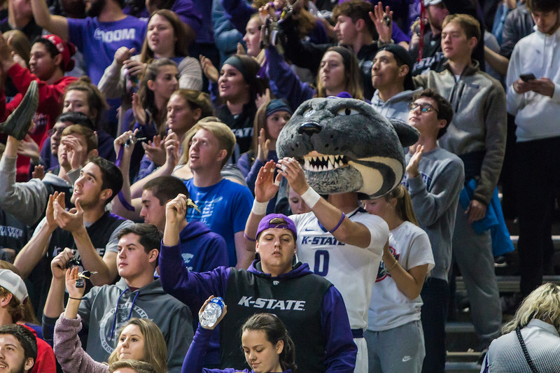 Willie Wildcat leads K-State fans in cheering on the men's basketball team during their game against Denver in Bramlage Coliseum on Nov. 12, 2018. The Wildcats defeated the Pioneers 64-56. (Logan Wassall | Collegian Media Group)