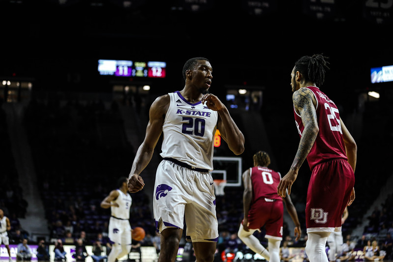 Xavier Sneed waits for the next play during K-State's basketball game against Denver in Bramlage Coliseum on Nov. 12, 2018. The Wildcats defeated the Pioneers 64-56. (Emily Lenk | Collegian Media Group)