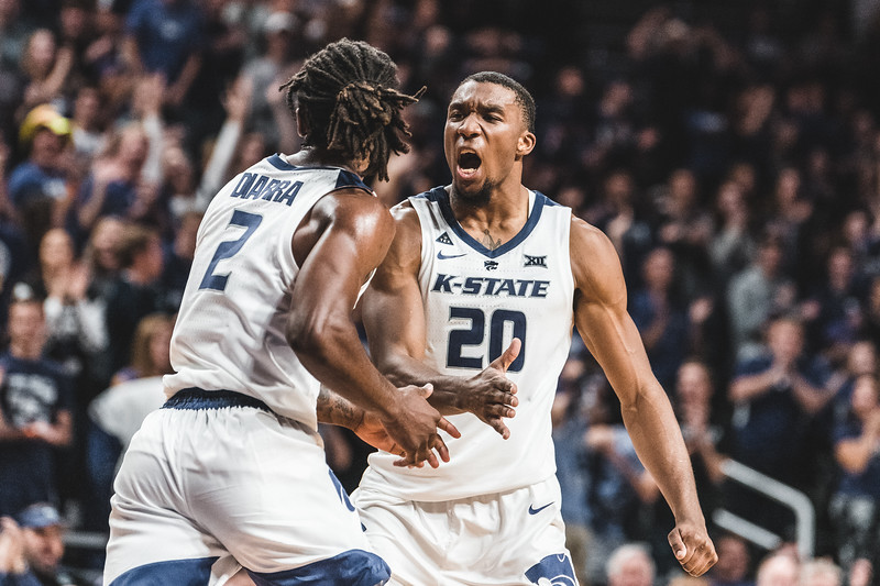 K-State forward Xavier Sneed celebrates Diarra's dunk during the second half of the game on November 2, 2018 against the Pittsburg State gorillas. (Alex Todd | Collegian Media Group)