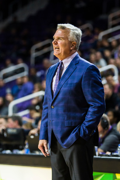K-State men's basketball coach Bruce Weber coaches his players in their game against Pittsburg State in Bramlage Coliseum on Nov. 2, 2018. The Wildcats took the Gorillas 79-39. (Logan Wassall | Collegian Media Group)