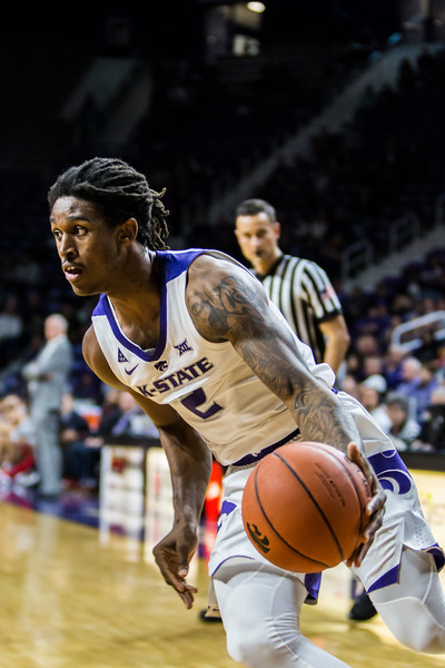 Sophomore guard Cartier Diarra drives the basket in K-State's men's basketball game against Pittsburg State in Bramlage Coliseum on Nov. 2, 2018. The Wildcats took the Gorillas 79-39. (Logan Wassall | Collegian Media Group)