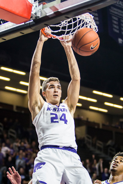 Junior forward Pierson McAtee goes up for a dunk in K-State's men's basketball game against Pittsburg State in Bramlage Coliseum on Nov. 2, 2018. The Wildcats took the Gorillas 79-39. (Logan Wassall | Collegian Media Group)