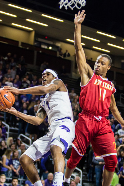 Freshman guard Shaun Neal-Williams goes up for a layup in K-State's men's basketball game against Pittsburg State in Bramlage Coliseum on Nov. 2, 2018. The Wildcats took the Gorillas 79-39. (Logan Wassall | Collegian Media Group)