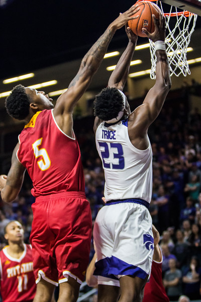 Junior forward Austin Trice goes up for a dunk in K-State's men's basketball game against Pittsburg State in Bramlage Coliseum on Nov. 2, 2018. The Wildcats took the Gorillas 79-39. (Logan Wassall | Collegian Media Group)