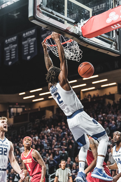 Just minutes into the game, K-State guard Cartier Diarra excites the crowd with a slam dunk against Pittsburg State. During the game on November 2, 2018, Diarra scored a total of 9 points. (Alex Todd | Collegian Media Group)