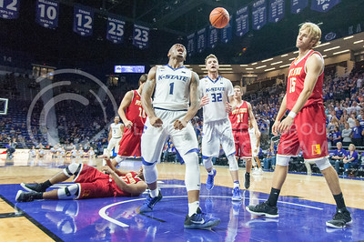 Carlbe Ervin II, senior guard, yells after scoring and getting a foal by Pittsburg State during the Wildcats game on Oct. 28, 2016 in Bramlage Coliseum. (Evert Nelson | The Collegian)