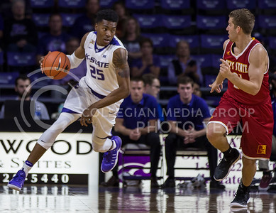 Wesley Iwundu, senior forward, runs the ball down the court during the K-State game against Pittsburg State in Bramlage Coliseum on Oct. 28, 2016. (Nathan Jones | The Collegian)