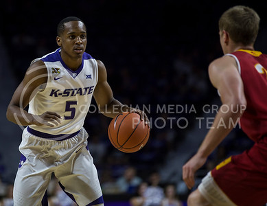 Sophomore guard Barry Brown runs the ball down the court during the K-State game against Pittsburg State in Bramlage Coliseum on Oct. 28, 2016. (Nathan Jones | The Collegian)