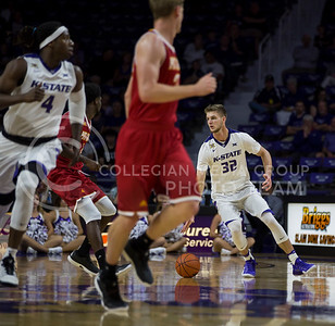 Dean Wade, sophomore forward, heads down court during the K-State game against Pittsburg State on Oct. 28, 2016. (Nathan Jones | The Collegian)