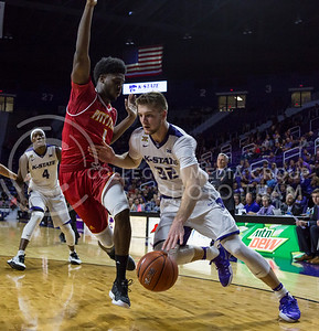 Sophomore forward Dean Wate runs towards the goal during the K-State game against Pittsburg State in Bramlage Coliseum on Oct. 28, 2016. (Nathan Jones | The Collegian)
