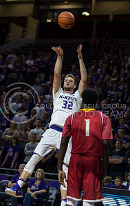 Dean Wade, sophomore forward, shoots the ball during the K-State game against Pittsburg State on Oct. 28, 2016. (Nathan Jones | The Collegian)