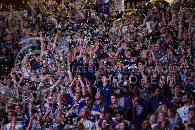 Students participate in the pregame papertoss during the K-State game against TCU in Bramlage Coliseum on Feb. 1, 2017. (Nathan Jones | The Collegian)