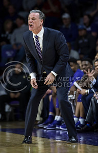 TCU head coach Jamie Dixon directs the players during the K-State game against TCU in Bramlage Coliseum on Feb. 1, 2017. (Nathan Jones | The Collegian)