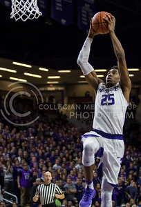 Senior forward Wesley Iwundu makes a shot on the basket during the K-State game against TCU in Bramlage Coliseum on Feb. 1, 2017. (Nathan Jones | The Collegian)