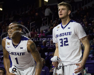 Senior guard Carlbe Ervin II and sophomore forward Dean Wade cheer on their teammates during the K-State basketball game against Green Bay in Bramlage Coliseum on Nov. 30, 2016. (Miranda Snyder   The Collegian)