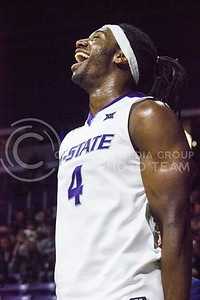Senior forward D.J. Johnson expresses his excitement during the basketball game between K-State and Green Bay in Bramlage Coliseum on Nov. 30, 2016. (Kelly Pham   The Collegian)