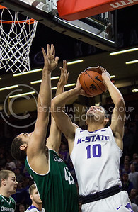 Freshman forward Isaiah Maurice jumps up for a basket during the K-State basketball game against Green Bay in Bramlage Coliseum on Nov. 30, 2016. (Miranda Snyder   The Collegian)