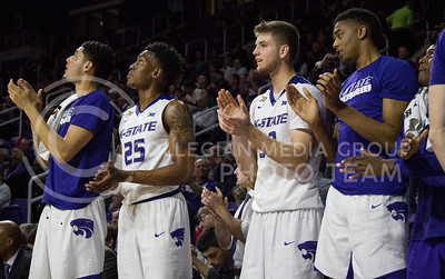 Members of the K-State men's basketball team cheer on their teammates during the game against Green Bay in Bramlage Coliseum on Nov. 30, 2016. (Miranda Snyder   The Collegian)