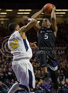Sophomore guard Barry Brown makes a shot during the K-State game against West Virginia in Bramlage Coliseum on Jan. 21, 2017. (Nathan Jones | The Collegian)