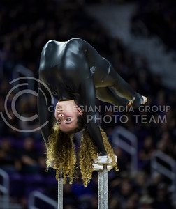 A contortionist performs the halftime show during the K-State game against West Virginia in Bramlage Coliseum on Jan. 21, 2017. (Nathan Jones | The Collegian)