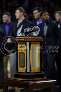 The Texas Bowl trophy was on display before the K-State game against West Virginia in Bramlage Coliseum on Jan. 21, 2017. (Nathan Jones | The Collegian)