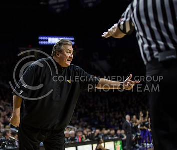 West Virginia head coach Bob Huggins argues with a referee during the K-State game against West Virginia in Bramlage Coliseum on Jan. 21, 2017. (Nathan Jones | The Collegian)