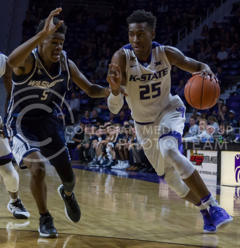 Senior forward Wesley Iwundu runs the ball down the court during the K-State game against Washburn in Bramlage Coliseum on Nov. 4, 2016. (Nathan Jones | The Collegian)