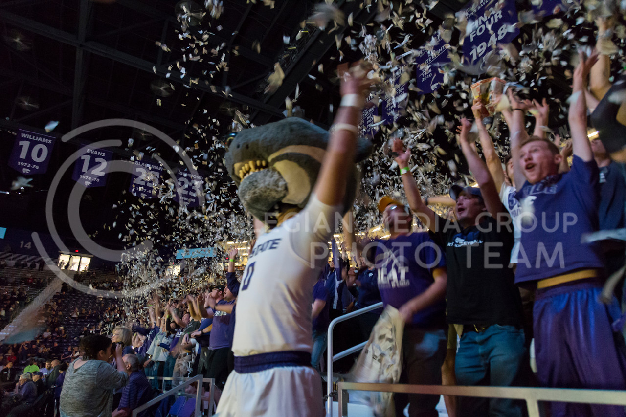 Willie the Wildcat participates in the paper toss during the K-State game against Washburn in Bramlage Coliseum on Nov. 4, 2016. (Nathan Jones | The Collegian)