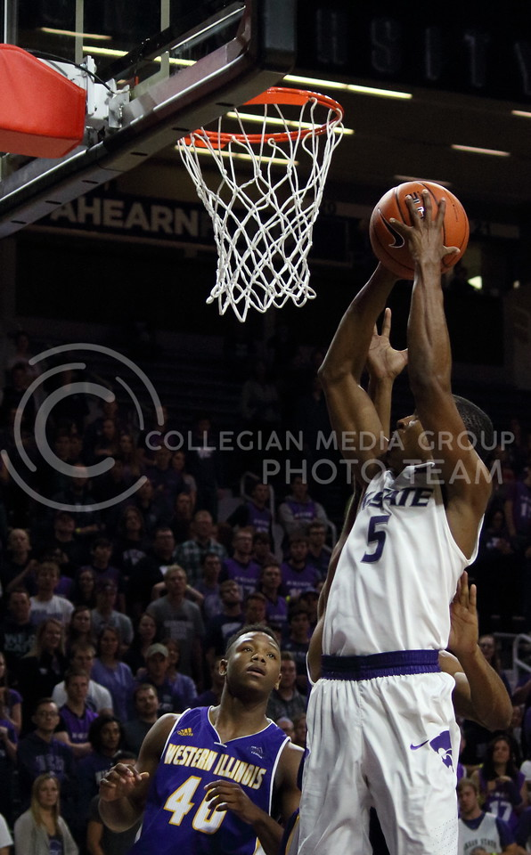 Sophomore guard Barry Brown goes up for a shot during the K-State game against Western Illinois in Bramlage Coliseum on Nov. 11, 2016. (Miranda Snyder | The Collegian)